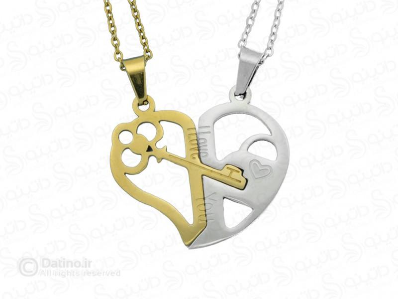 عکس گردنبند جفت کلید قلب 12049 - انواع مدل گردنبند جفت کلید قلب 12049
