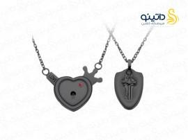 ست گردنبند قفل و کلید جفت مردانه و زنانه تاج قلب 11797