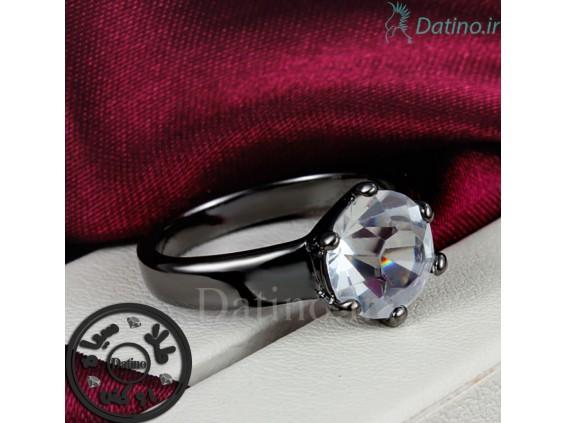 عکس انگشتر زنانه طلای مشکی پلین زیرکن-Garro.R.14 - انواع مدل انگشتر زنانه طلای مشکی پلین زیرکن-Garro.R.14