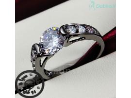 انگشتر زنانه طلا مشکی فلیر زیرکن شفاف-Garro.R.16