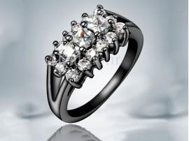 انگشتر زنانه طلا مشکی الگانت زیرکن-Garro.R.2