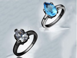 انگشتر زنانه طلا مشکی طرح قطره-Garro.R.4