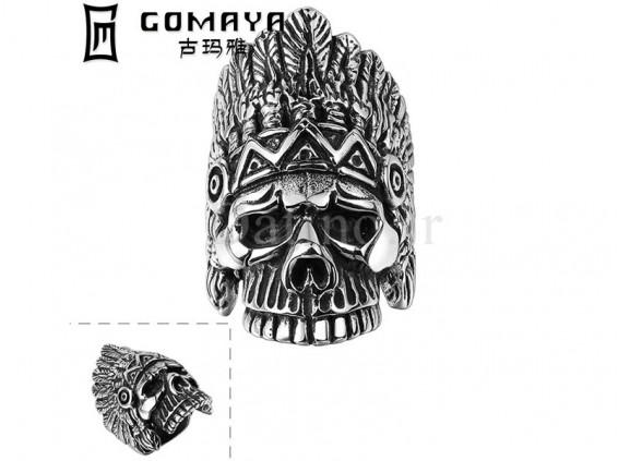 عکس انگشتر مردانه جمجمه سرخپوست-Gomaya.R.16 - انواع مدل انگشتر مردانه جمجمه سرخپوست-Gomaya.R.16