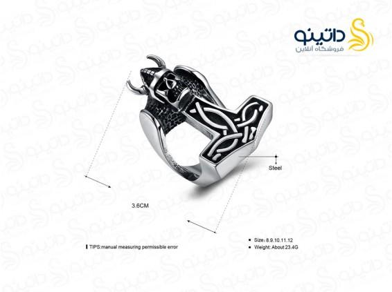 عکس انگشتر مردانه جمجمه وایکینگ gomaya-r-43 - انواع مدل انگشتر مردانه جمجمه وایکینگ gomaya-r-43