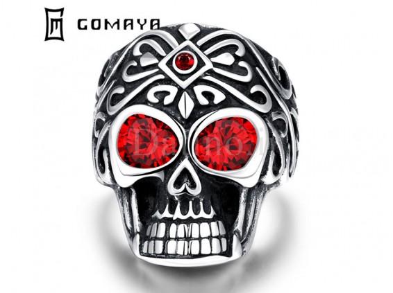 عکس انگشتر مردانه جمجمه چشم سرخ-Gomaya.R.6 - انواع مدل انگشتر مردانه جمجمه چشم سرخ-Gomaya.R.6