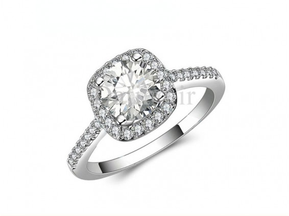 عکس انگشتر زنانه سیمپل اسکای اسکوار الماس-Royal.R.5 - انواع مدل انگشتر زنانه سیمپل اسکای اسکوار الماس-Royal.R.5