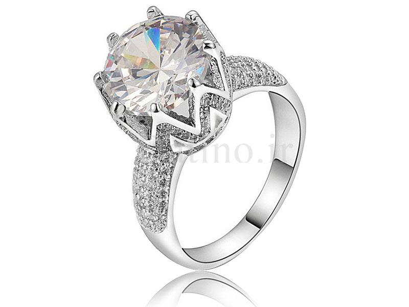 عکس انگشتر زنانه پرنسس لوکس کریستال الماس-Royal.R.60 - انواع مدل انگشتر زنانه پرنسس لوکس کریستال الماس-Royal.R.60