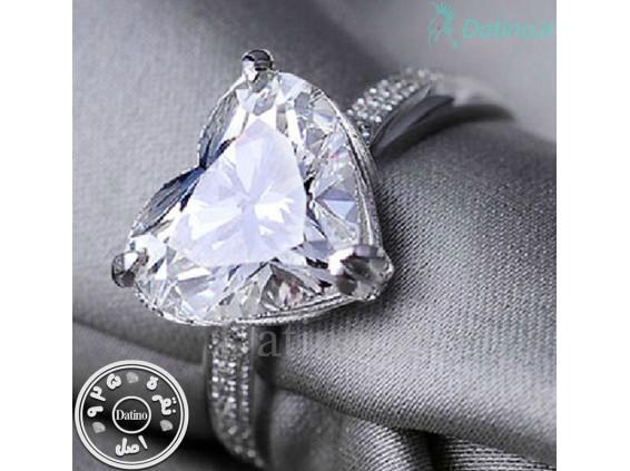 عکس انگشتر زنانه گلسی هارت الماس-Royal.R.86 - انواع مدل انگشتر زنانه گلسی هارت الماس-Royal.R.86