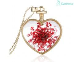 گردنبند زنانه قلب شیشه ای طرح گل استار-Toxic.N.1.4