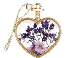 گردنبند زنانه قلب شیشه ای طرح گل بنفش-Toxic.N.1.1