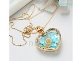 گردنبند زنانه قلب شیشه ای طرح گل بهار-Toxic.N.1.9