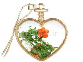 گردنبند زنانه قلب شیشه ای طرح گل نارنجی-Toxic.N.1.3