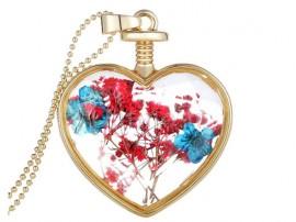 گردنبند زنانه قلب شیشه ای طرح گل وحشی-Toxic.N.1.2