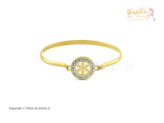 عکس دستبند زنانه استیل برف طلایی-Zarrin.B.22 - انواع مدل دستبند زنانه استیل برف طلایی-Zarrin.B.22
