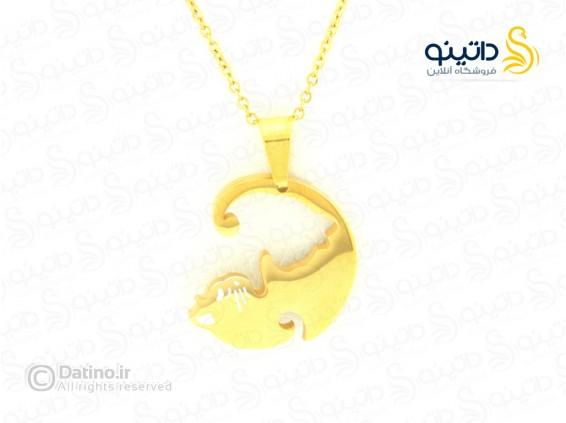 عکس گردنبند جفت گربه نماد عشق zarrin-n-116 - انواع مدل گردنبند جفت گربه نماد عشق zarrin-n-116